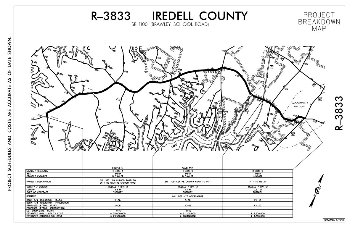 Brawley School Road Widening NC Eminent Domain Project Map